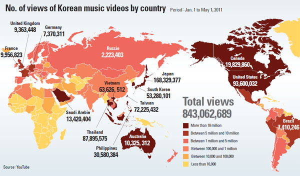No Of Views Of Kpop Videos Around The World - Youtube germany map